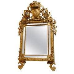18th Century Antique Mirror Richly Carved and Gilded Mirror