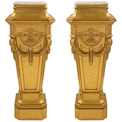 Pair of French 19th Century Louis XVI Style Giltwood and Carrara Marble Columns