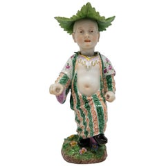 Meissen Porcelain Articulated Nodding Figure of Chinese Boy with Cabbage Hat