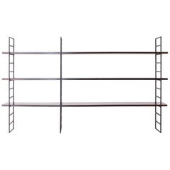 1960s Floating Shelving Unit in Rosewood and Wrought Iron, Brazilian Modernism