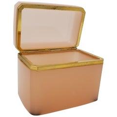 Antique French Bronze Doré Mount Hand-Diamond Cut-Crystal Peach Opaline Box