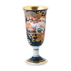 Set of Six Contemporary Japanese Ko-Imari Red Blue Porcelain Short Stem Cups