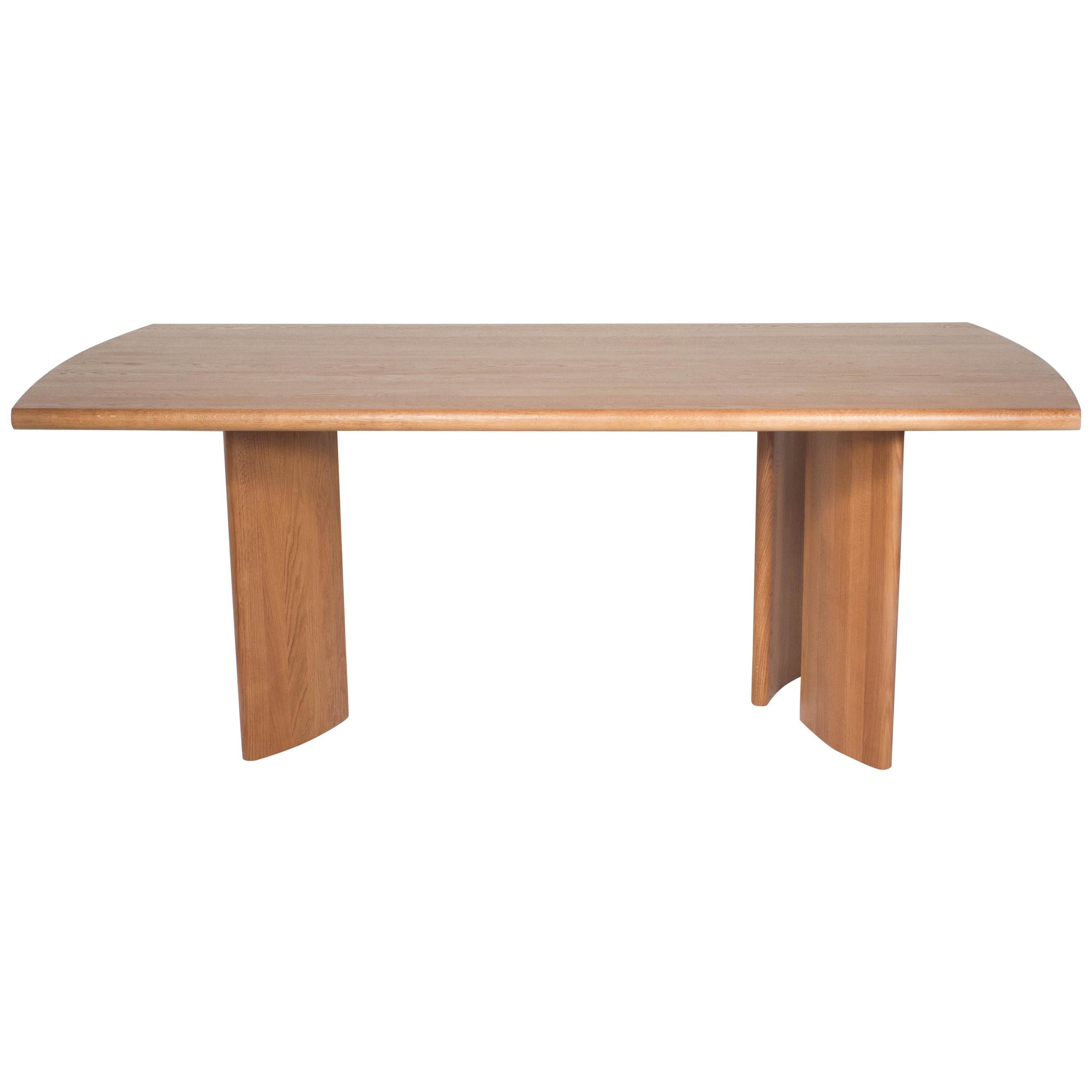 Crest Table, Sienna, Minimalist Dining Table In Wood