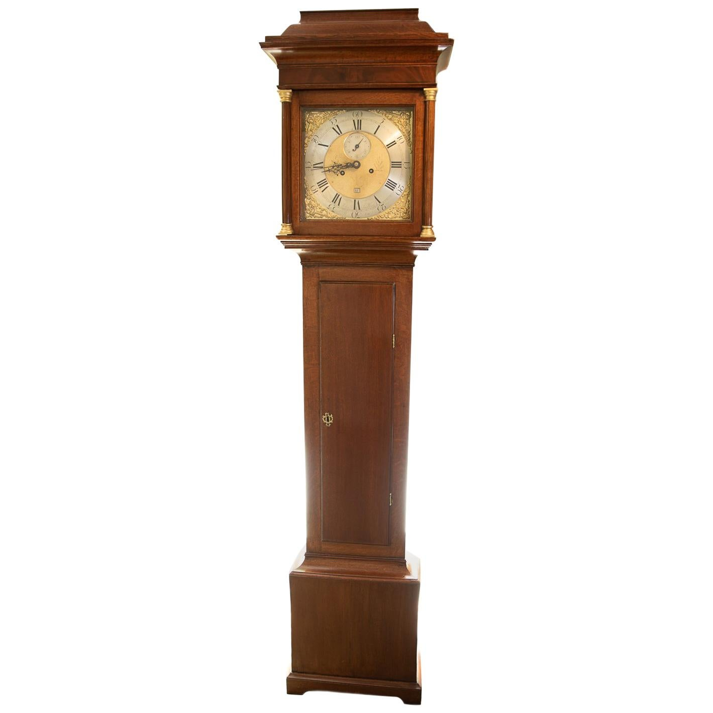 18th Century John Snelling 8 Day Square Brass Dial Longcase Clock