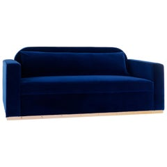Midnight Sofa, Modern Classic Blue Velvet Sofa on Metal Plinth
