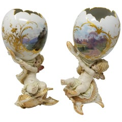 Berlin KPM Figural Porcelain Egg Shaped Weichmalerei Vases