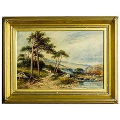 Landscape in a Golden Frame, Signed by Carl Brennir