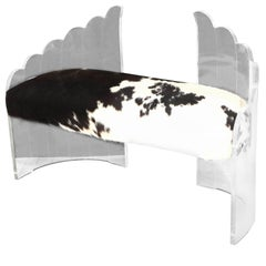 Charles Hollis Jones Clear Lucite 'Angel Wings' Bench-Hill Mfg. Cowhide Seat