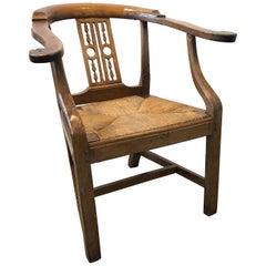 18th Century Italian Fruitwood Corner Armchair