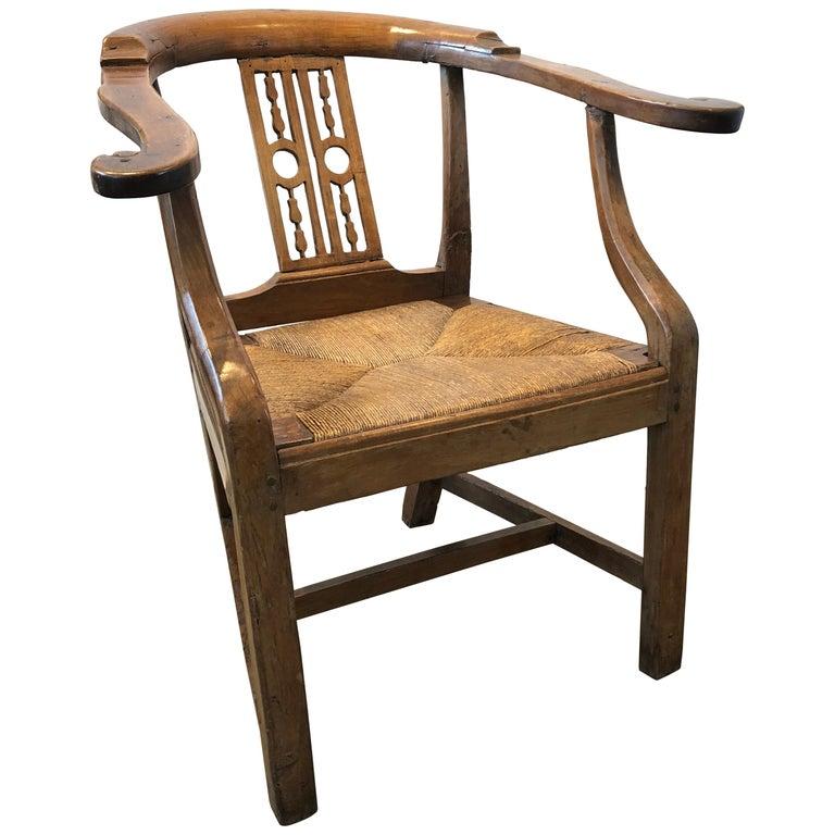 18th Century Italian Fruitwood Corner Armchair For Sale