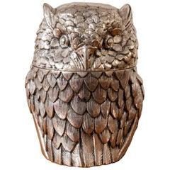 1970s Italian Silver Metal Mauro Manetti Owl Ice Bucket