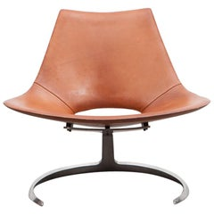 1960s Brown Leather Scimitar Chair by Fabricius / Kastholm 'a'