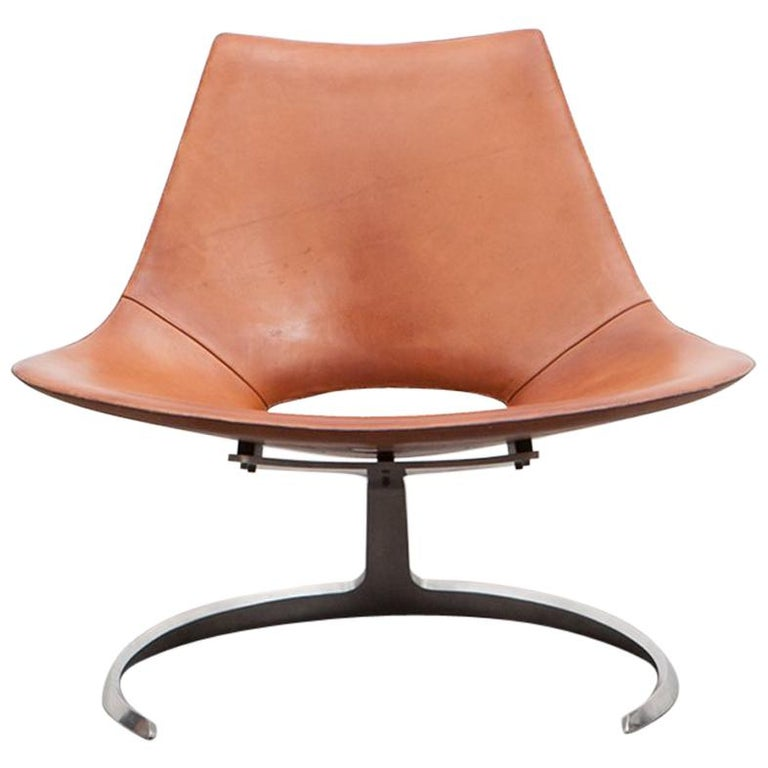 1960s Brown Leather Scimitar Chair by Fabricius / Kastholm 'a' For Sale