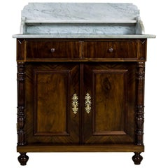 19th Century Eclectic Basin Cabinet Veneered with Walnut