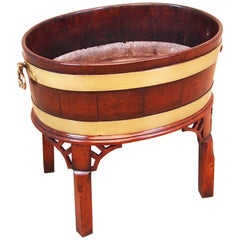 Antique Georgian Mahogany Oval Open Wine Cooler