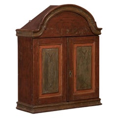 Antique Swedish Wall Cabinet with Original Red Paint