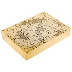 Vintage Line Vautrin Large Gilded Bronze Box Puzzle