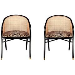 Contemporary Woven Cane Italian Armchair Set