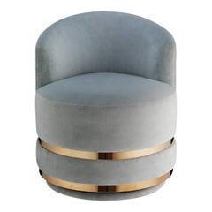 Halo Swivel Chair, Contemporary Swivel Chair with Rose Gold Metal Plinth