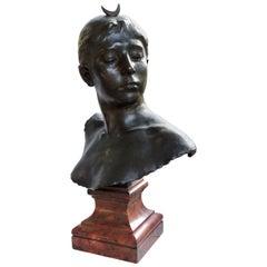 Alexandre Falguiere Buste de Diane, a Bronze Sculpture on a Marble