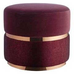 Halo Stool, Contemporary Stool with Rose Gold Metal Band and Plinth