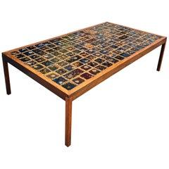 Midcentury Danish Large Teak Wood and Ceramik Coffee Table/Bench, 1960s