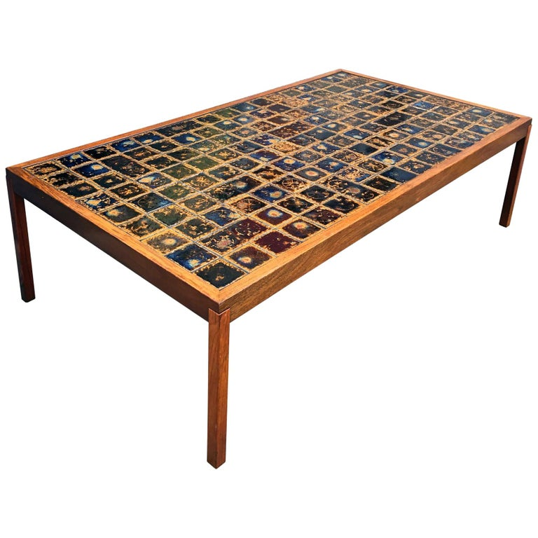Midcentury Danish Large Teak Wood and Ceramik Coffee Table/Bench, 1960s For Sale