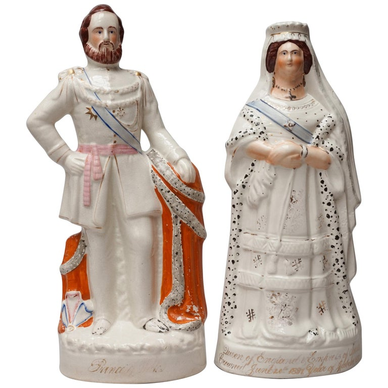 Large Victorian Staffordshire Figurines of Queen Victoria and Prince Albert For Sale