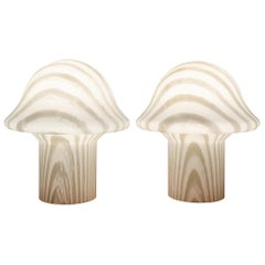 1970s Pair of Small Striped Peill & Putzler Mushroom Table Lamps