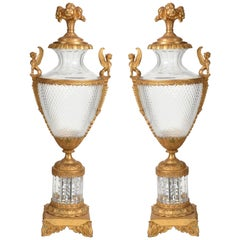 Mid-19th Century Large Matching Pair of Bronze or Cut Glass Urns
