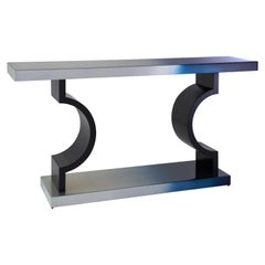 Horizon Console, Blue Console with Ombré Silver Leaf Finish