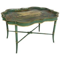 Victorian Green Painted Tole Tray Table