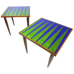 Mid Century Era Georges Briard Design Glass Mosaic Side Tables