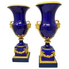 Beautiful Pair of French Louis XVI Sevres Cobalt Blue Porcelain and Ormolu Vases
