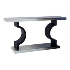 Horizon Console, Grey Console with Ombré Leaf Finish