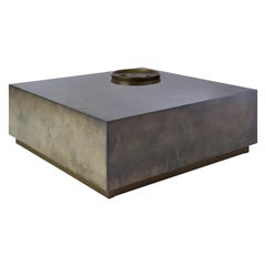 Vesper Coffee Table, Large Coffee Table in Acero Parchment and Pewter Leaf