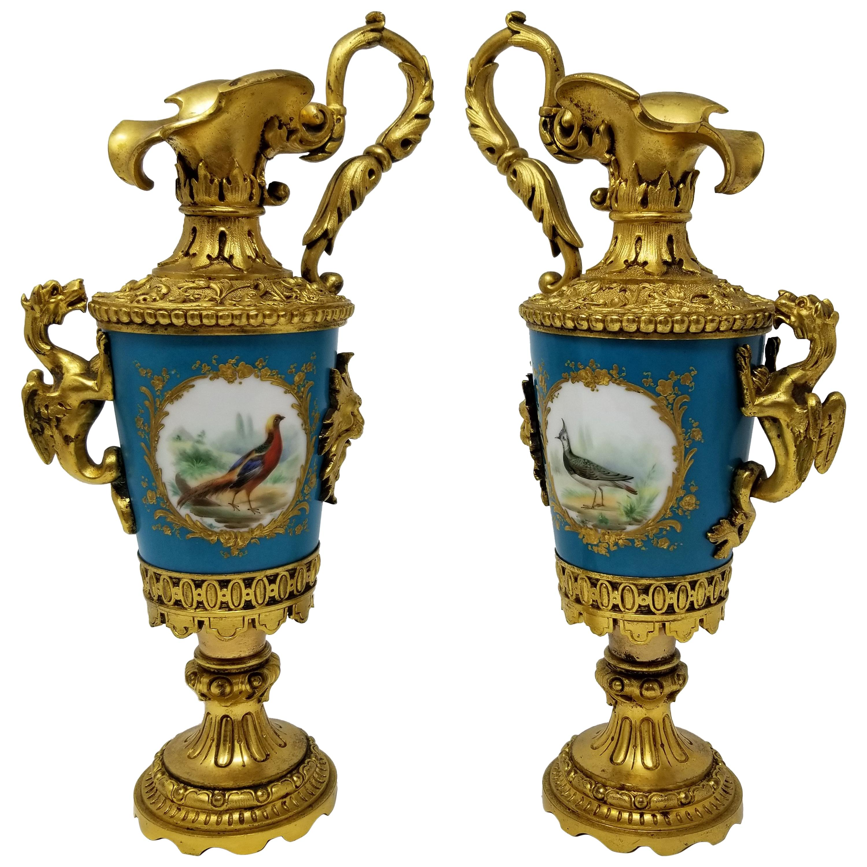 Pair of French Sèvres Porcelain Ormolu Mounted Ewers with Birds/Flowers/Dragons