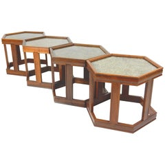 Mid-Century Modern John Keal for Brown Saltman Hexagon Occasional Table Set