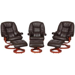 Modernist Scandinavian Leather Swivel Chairs with Ottomans