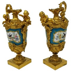Fine 19th Century French Sèvres Style Porcelain & Doré Bronze-Mounted Ewers