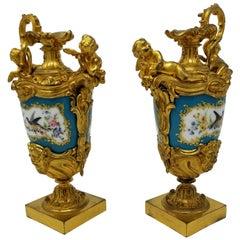 Fine 19th Century French Sèvres Style Porcelain & Doré Bronze-Mounted Ewers