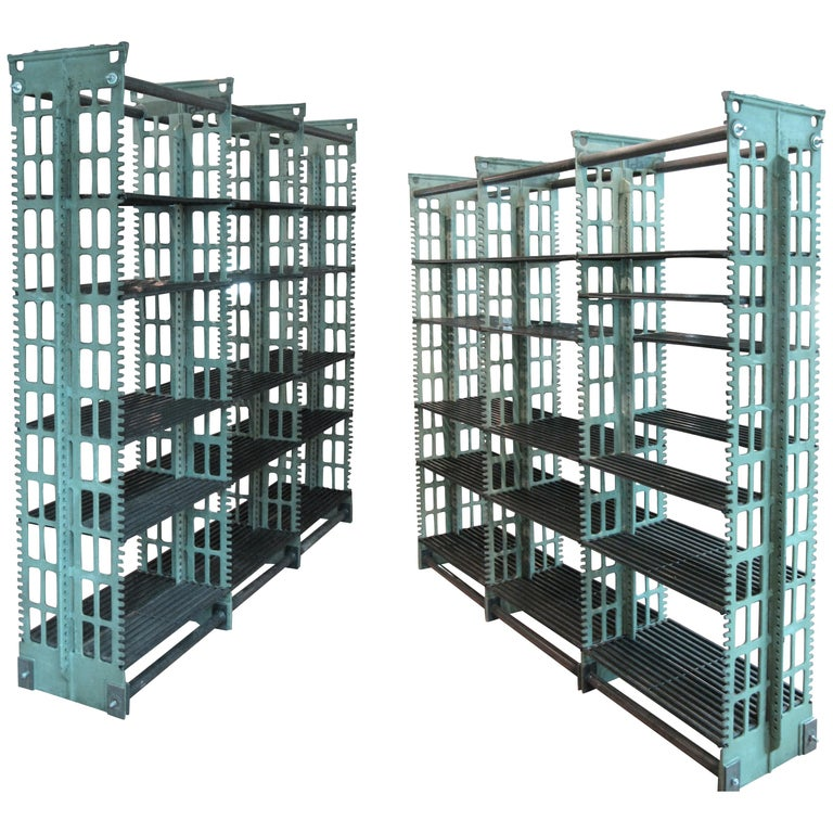 Pair of Antique Cast Iron Archival Library Bookcases by Snead For Sale