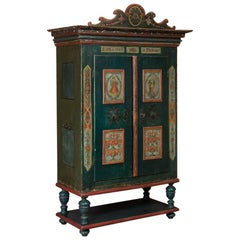 Antique Austrian Armoire with Original Paint
