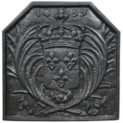 Antique Cast Iron Fire Back, Coat of Arms, Fireplace Revival Casting, circa 1900