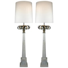 Outstanding Pair of Italian Marble and Gilded Palm Floor Lamps