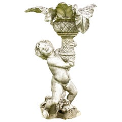 Antique Carved Marble Garden Putto Figure