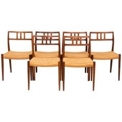 Set of Six Danish Niels Moller Rosewood Model 79 Dining Chairs with Cord Seats