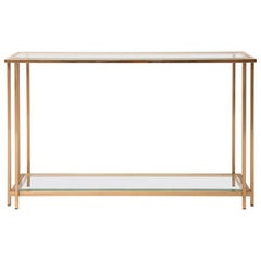 1970s Belgian Belgo Chrome & Double Shelved Bevelled Glass Console Table