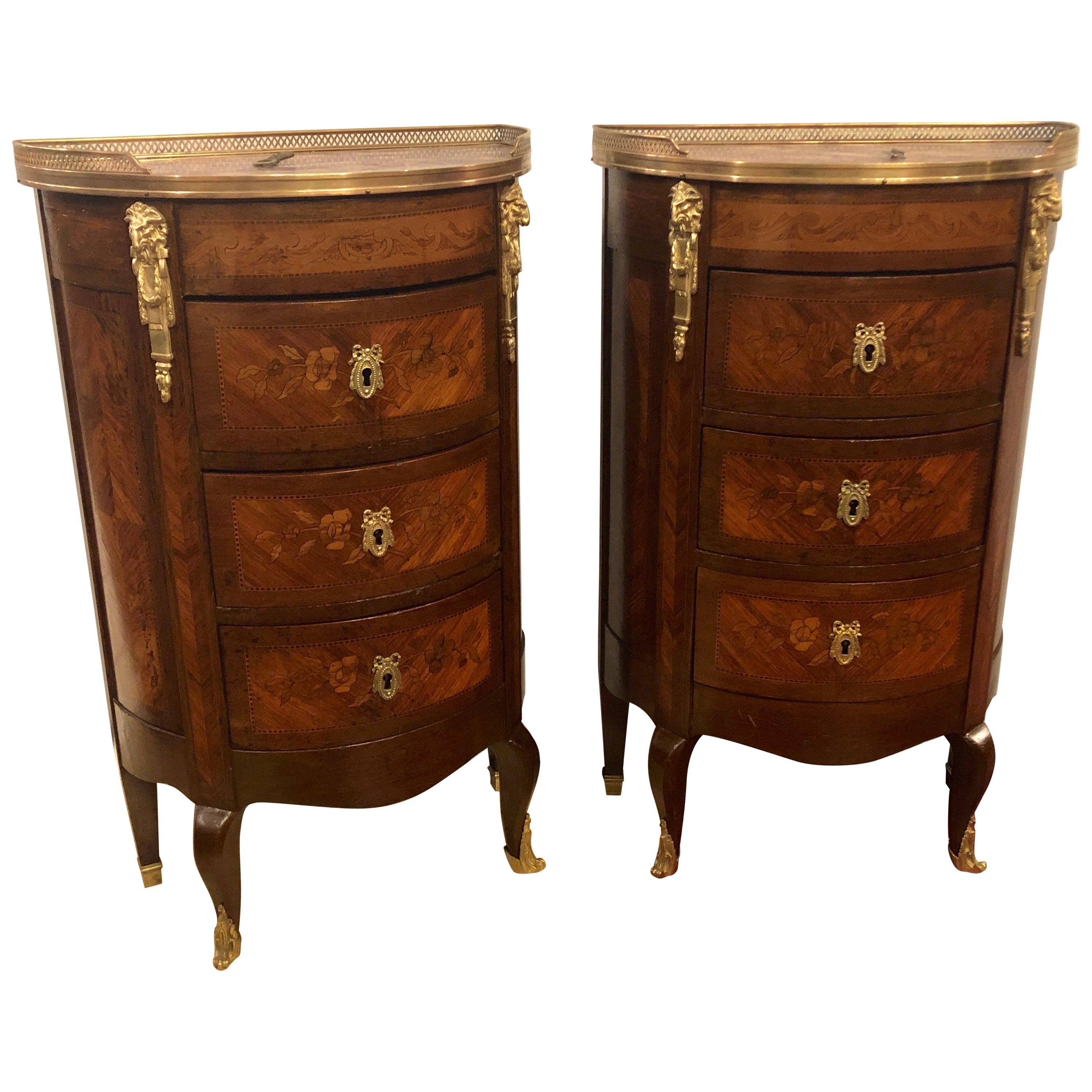 Pair of 19th Century Bronze Mounted Demilune End Tables or Nightstands