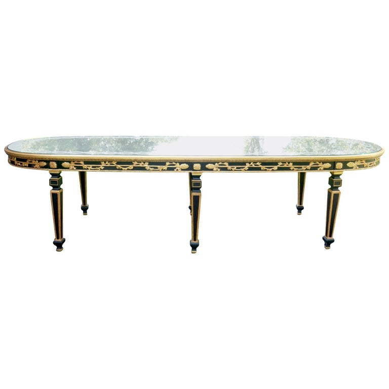 Large Vintage Mirror Topped Dining Table in the Manner of Jansen For Sale